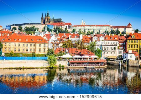 Prague Bohemia Czech Republic. Hradcany is the Praha Castle with churches chapels halls and towers from every period of its history.