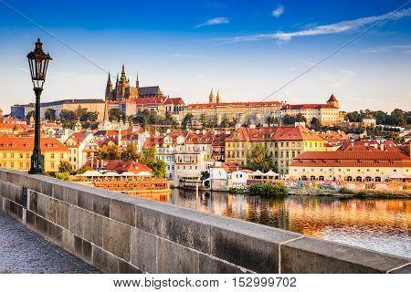 Pargue Czezh Republic. View of the Lesser Bridge Tower of Charles Bridge (Karluv Most) and Prague Castle Bohemia.