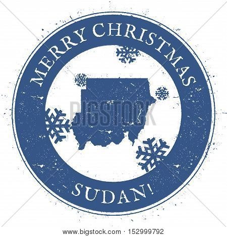 Sudan Map. Vintage Merry Christmas Sudan Stamp. Stylised Rubber Stamp With County Map And Merry Chri