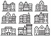 Europe street and house thin line collection. Scandinavian and british townhouse facades. Historic town houses set. Danish, english or german downtown street logos and emblems in outline design. poster