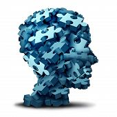 Psychology puzzle concept as a a group of 3D illustration jigsaw pieces shaped as a human head as a mental health symbol for psychiatry or psychology and brain disorder icon on a white backbround. poster