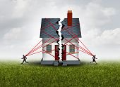 Broken family after a bitter divorce settlement and separation with a couple in a bad relationship breaking a house apart showing the concept of a marriage dispute and dividing assets with 3D illustration elements. poster