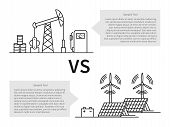 Oil production versus electric energy linear vector illustration with fuel hose pipe petrolium fuel gasoline battery solar battery wind turbine. Fuel energy versus eco power energy concept. poster
