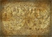 Graphic illustration of old atlas map of world on ancient paper background. Vintage or pirate adventures, treasure hunt and old transportation concept. Grunge texture and mystic symbols poster