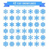Cute snowflake collection isolated on white background. Flat snow icon snow flakes silhouette. Nice snowflakes for christmas banner cards. New year snowfall. Organic and geometric snowflakes set. poster