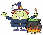 Ugly Halloween Witch Cartoon Mascot Character Preparing A Potion In A Cauldron poster