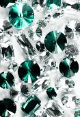 Large crystal strasses on a white background - macro photo poster