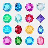 Gems isolated on white background. Vector jewels or precious diamonds gem set poster