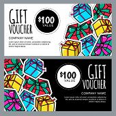 Vector gift voucher template with gift box patches and stickers. Christmas or New Year holidays cards in 80s, 90s comic style. Design concept for gift coupon, invitation, certificate, flyer, banner. poster