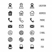 Business card vector icons, home and phone, address and telephone, fax and web, location symbols. Contact of telephone for communication illustration poster