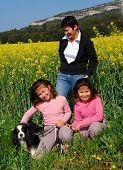 twins sister their mother and their little dog poster
