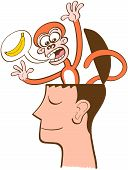 Mischievous monkey going out of the head of a man in meditation. The monkey is furiously asking for bananas by using a speech bubble. The man keeps meditating, half-smiling, peaceful, unruffled poster