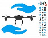 Airdrone Care Hands pictograph with free bonus pictures. Vector illustration style is flat iconic symbols blue and gray colors white background. poster