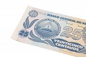 National currency of Nicaragua.25 centavo de cordoba banknote. poster
