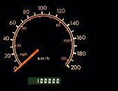Car odometer at one hundred thousand with room for text. poster