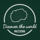 White chalk texture hipster insignia with Former Yugoslav Republic of Macedonia map on a green blackboard. Grunge rubber seal with country outlines vector illustration. poster
