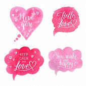You make me happy Hello love Keep calm and Love I love you greeting cards posters with pink watercolor speech bubble hand drawn heart. Vector background with hand lettering. poster