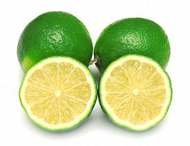 Lime isolated on white background. Flat, fruit.