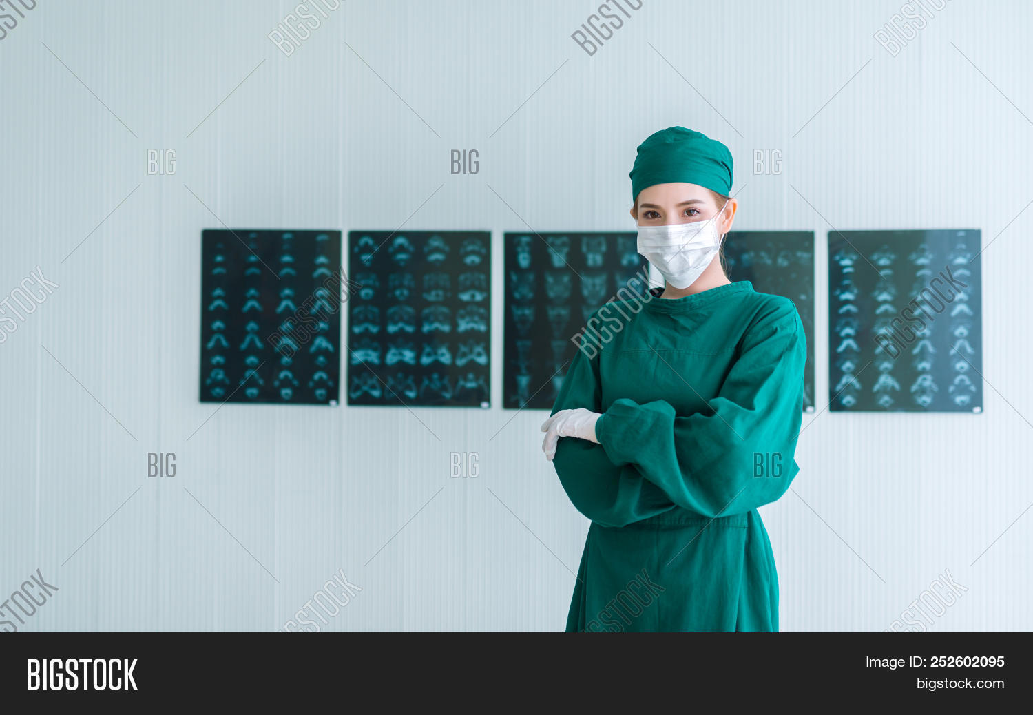 67ff0e81a1f Portrait of Female doctor Surgeon in green scrubs putting on surgical  gloves and looking at Camera . Young asian doctor woman with x-ray image  background in ...