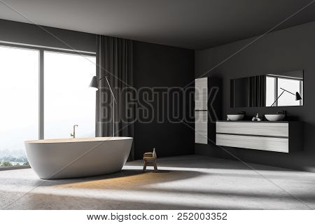 Stylish Bathroom Corner With Panoramic Windows, Gray Walls, A Concrete Floor, A Double Sink And A Wh