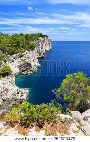 Cliffs In Telascica Nature Park, Dugi Otok Island In The Adriatic Sea. Croatia.