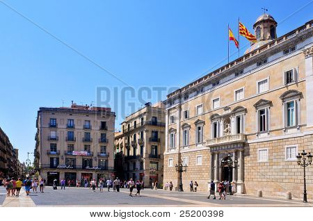 BARCELONA, SPAIN - AUGUST 16: Generalitat of Catalonia Palace on August 16, 2011 in Barcelona, Spain. This palace, in Sant Jaume square, houses the offices of the Presidency of the catalan government