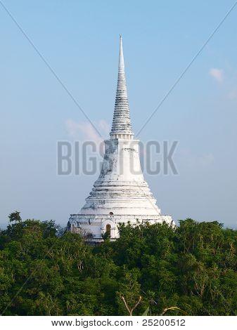 View Of White Pagoda On Top Of Hill Maha Samanaram Temple In Petchburi ,thailand