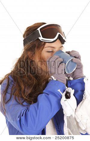 Ski Drinking From Mug