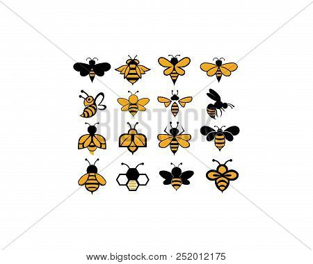 Bee Animal Icon. Honey Flying Bee. Insect.bugs, Insects And Arachnids Flat Style Vector Illustration