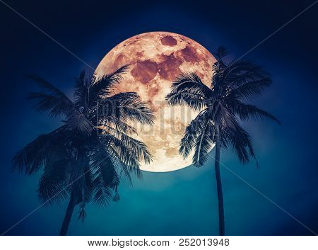 Red Moon Or Blood Moon. Beautiful Night Landscape Of Blue Sky With Super Moon Behind Coconut Palm. S