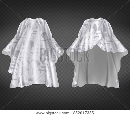 Vector 3d Realistic White Hairdresser Apron With Print, Pattern Isolated On Transparent Background.