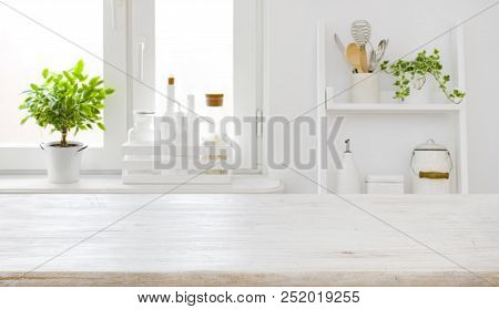 Empty Table Board And Defocused Modern Kitchen Window Background Concept