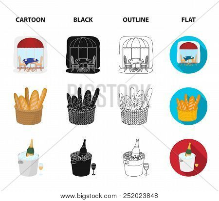 Bicycle, Transport, Vehicle, Cafe .france Country Set Collection Icons In Cartoon, Black, Outline, F