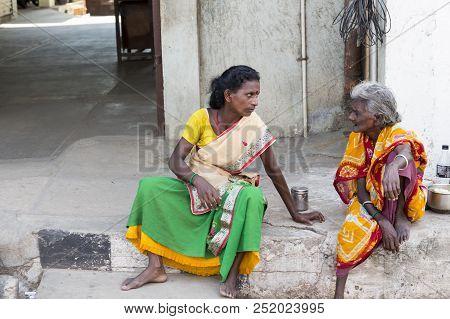 Pondichery, Puducherry, Tamil Nadu, India - September Circa, 2017. Unidentified Rural People In Fron