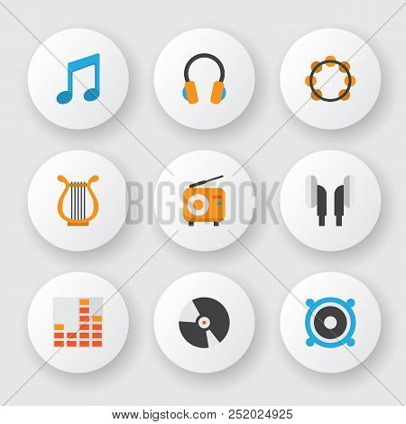 Audio Icons Flat Style Set With Philharmonic, Ear Muffs, Fm And Other Dj Elements. Isolated Vector I