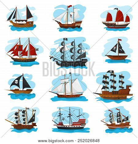 Piratic Ship Vector Pirating Boat Vessel Sailboat And Powerful Piratical Speedboat Illustration Mari