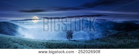 Panorama Of Beautiful Mountainous Countryside At Night In Full Moon Light. Tree On The Hill Side In