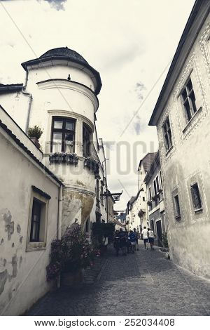 Durnstein (dürnstein), Austria - July 07 2018: – Old Street And Architecture Stock Editorial Photo