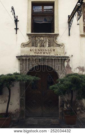 Durnstein (dürnstein), Austria - July 07 2018: – Old Kuenringer Tavern Wich Date From Year 1437  Sto