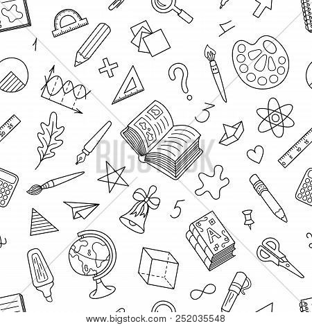 Black And White Seamless Pattern Of School Stationery. Coloring Page Uncolored Patterned Motif With