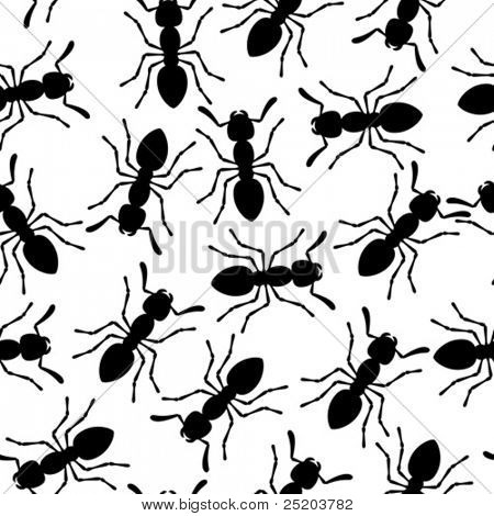 Ants. Vector seamless wallpaper