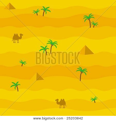 Seamless vector wallpaper. Desert. Africa. Camel. Palm. Pyramid.