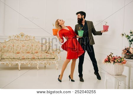 Floristic Concept. Couple In Love With Potted Flowers. Floristic Service. Floristic Design. Floristi
