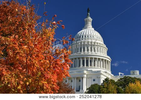 United States Capitol Building with trees in Autumn colors - Washington DC United States of America