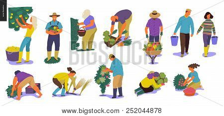 Harvesting People - Set Of Vector Flat Hand Drawn Illustrations Of People Doing Farming Job - Wateri