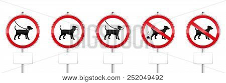 Dogs Mandatory Signs With Blank Panels - No Dogs Allowed, Dogs On Leash, Wearing Muzzles, Dog Dirt.