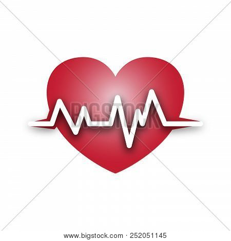 Red Shiny Heartbeat Icon Isolated On White Background. Heartbeat Icon . Heartbeat Icon Simple Sign F