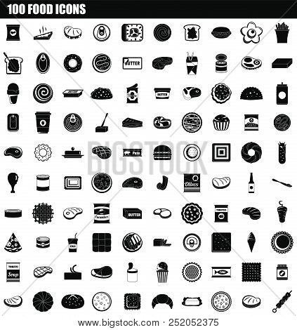 100 Food Icon Set. Simple Set Of 100 Food Vector Icons For Web Design Isolated On White Background