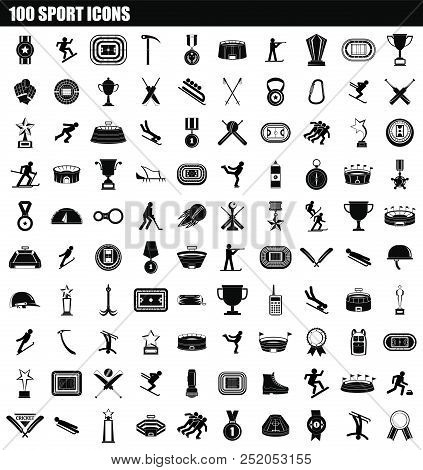 100 Sport Icon Set. Simple Set Of 100 Sport Vector Icons For Web Design Isolated On White Background