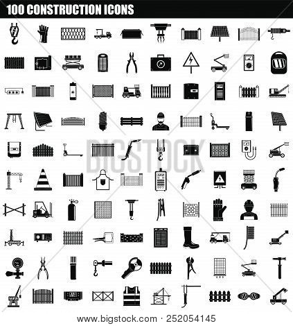 100 Construction Icon Set. Simple Set Of 100 Construction Vector Icons For Web Design Isolated On Wh